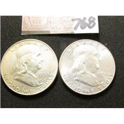 1950 P BU & 50 D EF Franklin Half Dollars. (2 Pcs.).