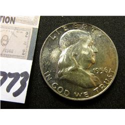1956 P Franklin Half Dollar. Lightly toned Original BU.