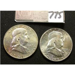 1957 P & D Franklin Half Dollars. Light to moderate toned Original BU.
