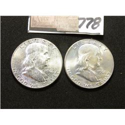 1961 P & D Franklin Half Dollars. Light to moderate toned Original BU.