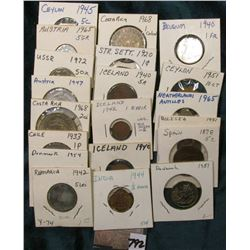 "(20) Various Foreign Coins in 2"" x 2""s, all attributed, and date back to 1878. Valued at $30+."