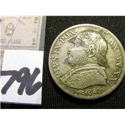 1866 Papal States 1 Lira engraved (similar to a Hobo Nickel) Depicts the Pope with German Helmet, be