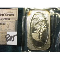 """Merry Christmas"", ""One Oz. .999 Fine Silver"" Rectangular bar with Santa Claus on Chimney."