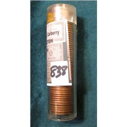 1955 P Original BU Roll of Lincoln Cents in a plastic tube.
