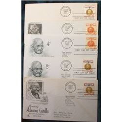 "(5) Different ""Mahatma Gandhi"" First Day Stamped Covers. Mint condition."