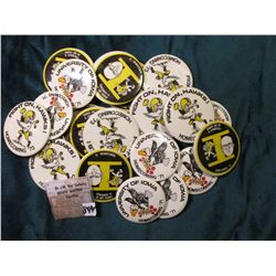 (20) 1970 era University of Iowa Sports Related Pin-Backs.