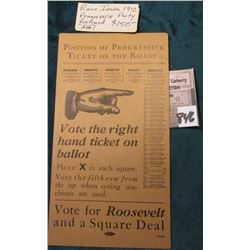 "1912 Rare Iowa Progressive Party Postcard ""Vote for Roosevelt and a Square Deal""."