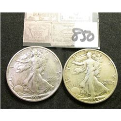 1934 P VF & 35 P EF Walking Liberty Half Dollars.