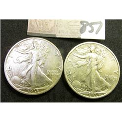 1934 P & 35 P Walking Liberty Half Dollars. Both EF.