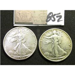 1934 P & 36 D Walking Liberty Half Dollars. Both EF.