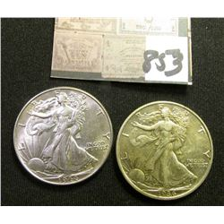 1936 P EF & 44 P AU Walking Liberty Half Dollars.