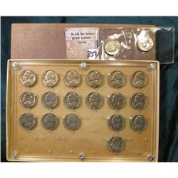Group of (20) Old Jefferson Nickels and a Seitz Case, two are not in the case. 1954-64 era. Most are