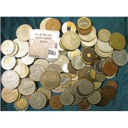 (100) Mixed Foreign Coins, includes at least one Nazi Germany piece with a Swastika.
