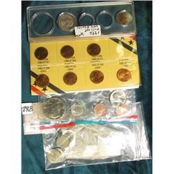 1982 Seven-Piece Variety Cent Set, BU; part of a 1973 Mint Set in cellophane; a 1932 P Washington Qu