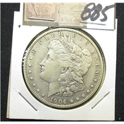 1904 P Morgan Silver Dollar. Very Fine.