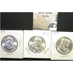 (3) 1958 P Franklin Half Dollars. All Gem BU.