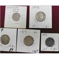 1883 Indian Cent, Fine; 1916 P VG, 17 P Good, & 18 P VG Buffalo Nickels; & 1891 P Seated Liberty Dim