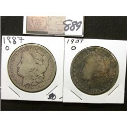 1887 & 1901 O New Orleans Mint Silver Dollars. G-AG.
