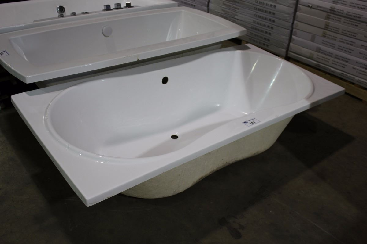 Large white rounded drop in soaker tub for Drop in soaker bathtubs
