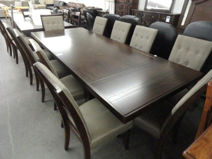 Wood Dining Table W 10 Upholstered Chairs Scratches