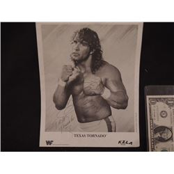 KERRY VON ERICH TEXAS TORNADO VINTAGE HAND SIGNED WWF PROMO PHOTO