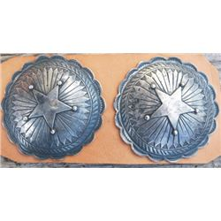Pair of 3 inch silver conchos