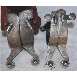 2 nice pairs of Fleming silver overlaid spurs
