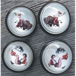 2 pairs cowgirl glass rosettes