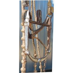 rawhide bridle with nice silver inlaid Las Cruces halfbreed