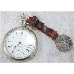 Hempden silver pocket watch and fob