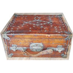 small 1868 leather trunk