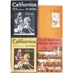 4 Jo Mora books - Californios, Trail Dust and Saddle Leather
