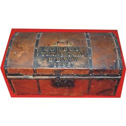 leather trunk marked Cowboy Texas Tom BBWW 1895