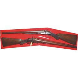 WW Greener 10ga engraved trap door with deluxw wood