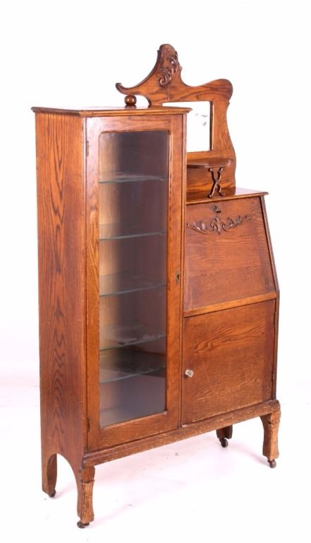 Antique Oak Secretary Bookcase Curio Cabinet. Loading zoom - Antique Oak Secretary Bookcase Curio Cabinet