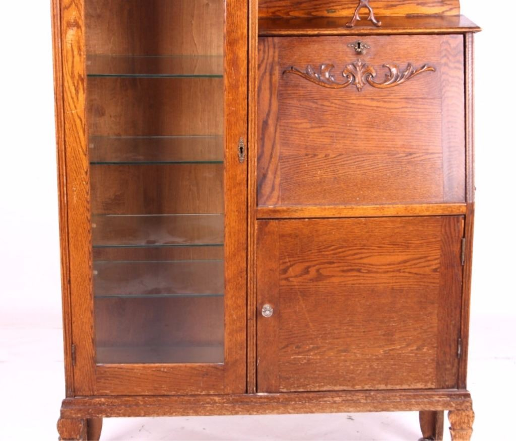 ... Image 5 : Antique Oak Secretary Bookcase Curio Cabinet ... - Antique Oak Secretary Bookcase Curio Cabinet