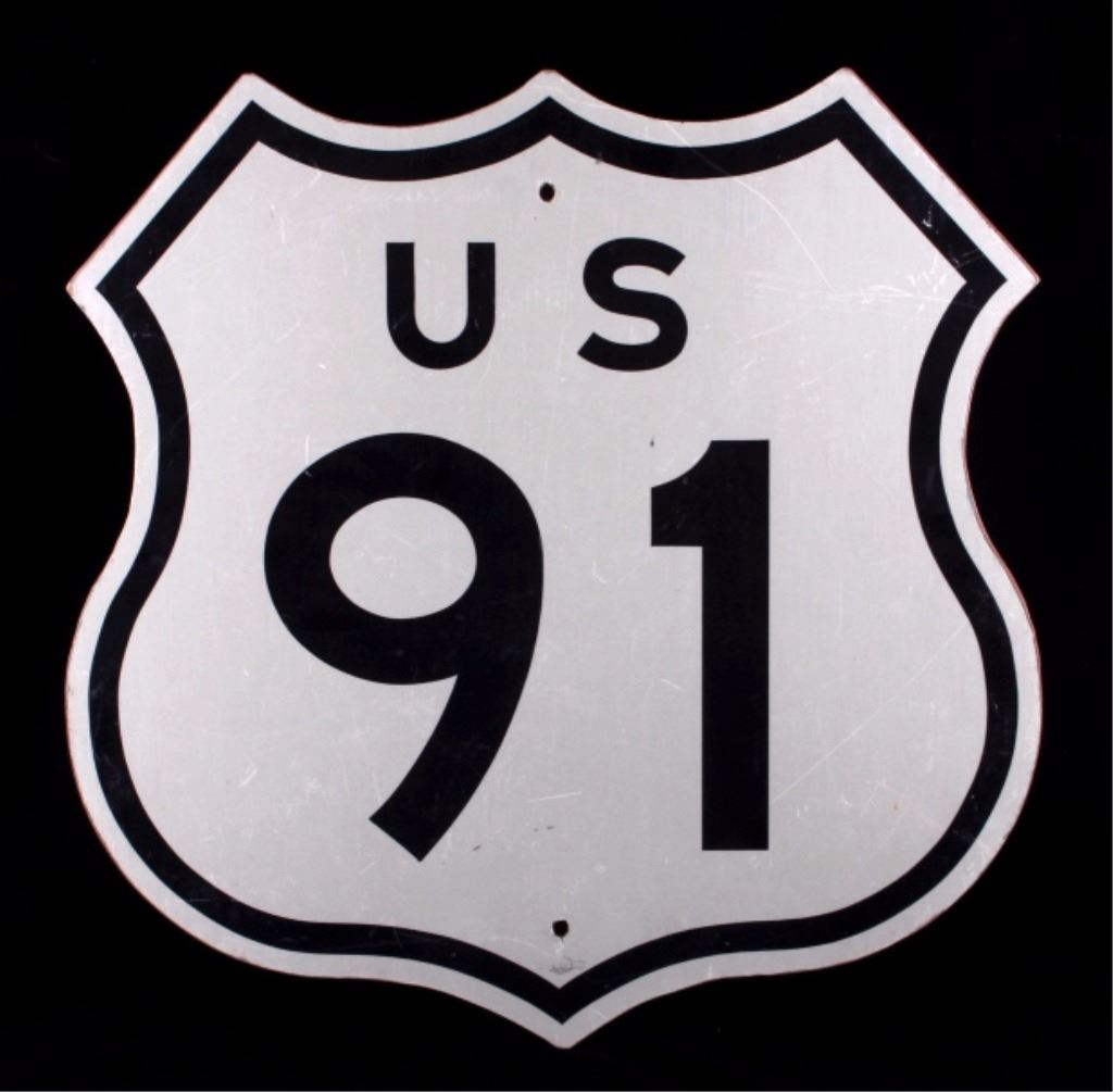 U S Route 91 Wooden Highway Sign From Montana