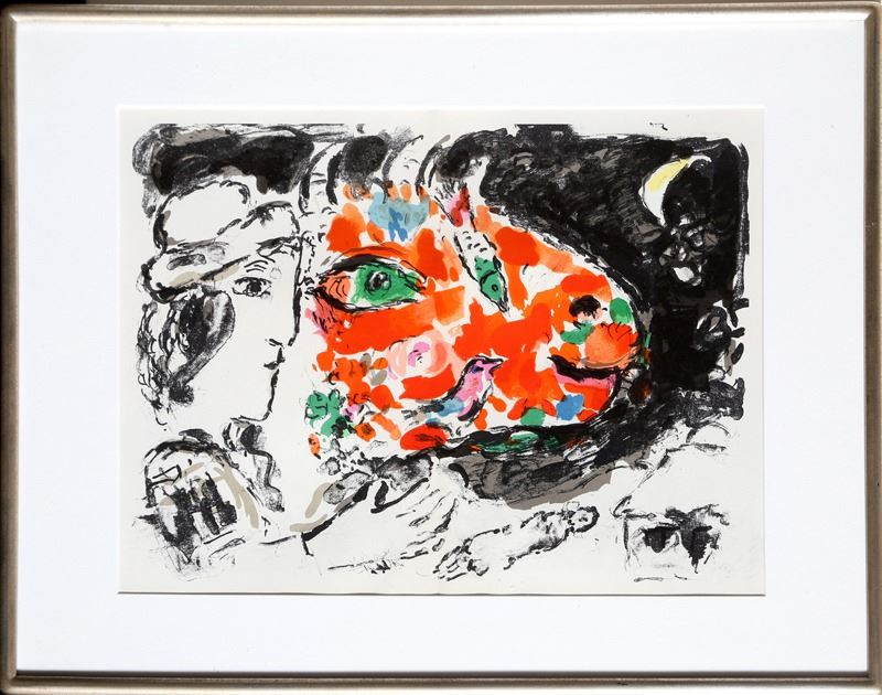 Marc chagall after the winter derriere le miroir lithograph for Marc chagall derriere le miroir