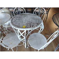 White Iron & Wicker Patio Set w/4 Chairs