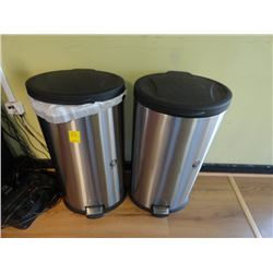 2 S/S Foot Operated Trash Cans - 2 Times the Money