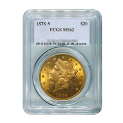 1878-S $20 Liberty Gold Coin PCGS MS62