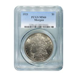 1921 $1 Morgan Silver Dollar - PCGS MS66