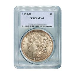 1921-D $1 Morgan Silver Dollar - PCGS MS64