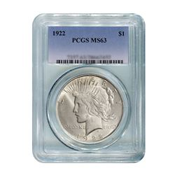 1922 $1 Peace Silver Dollar - PCGS MS63