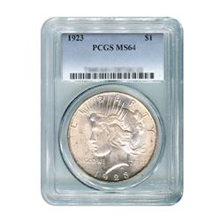1923 $1 Peace Silver Dollar - PCGS MS64