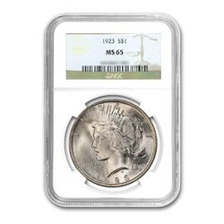 1923 $1 Peace Silver Dollar - NGC MS65