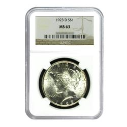 1923-D $1 Peace Silver Dollar - NGC MS63