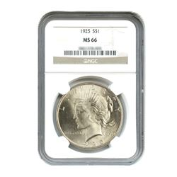 1925 $1 Peace Silver Dollar - NGC MS66