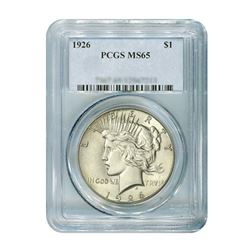 1926 $1 Peace Silver Dollar - PCGS MS65