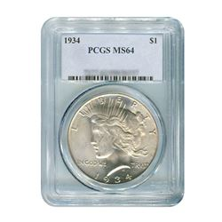 1934 $1 Peace Silver Dollar - PCGS MS64